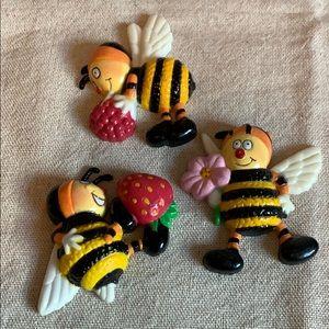 Vintage Bee Magnets